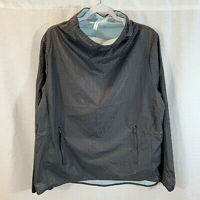 Fabletics Funnel Neck Pullover Mesh Shirt Lightweight Gray Womens XL X-Large