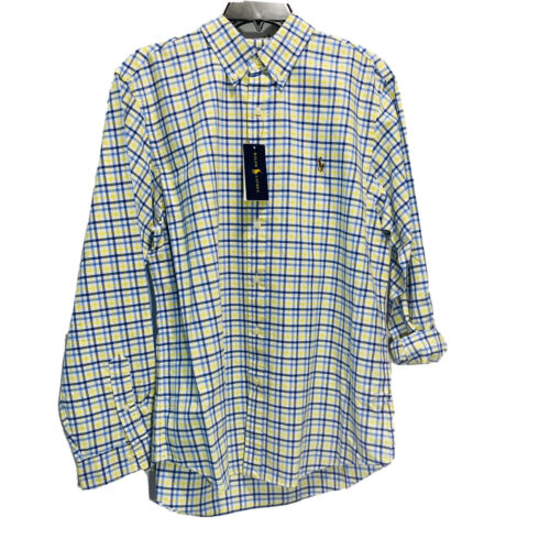 Polo Ralph Lauren Mens Button Down Shirt XLT L/S Blue Yellow Oxford Classic Fit Casual Button-Down Shirts
