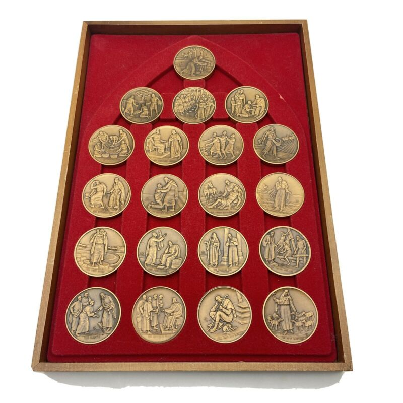 Franklin Mint The Parables of Jesus Complete Set 20 Large Bronze Engraved Coins