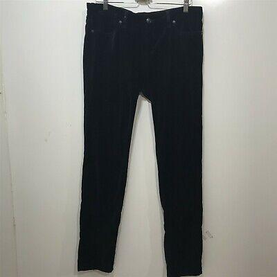 BCBGMAXAZRIA Black Velvet Pants 32 in Waist May Skinny Back Leg Zipper 10 12