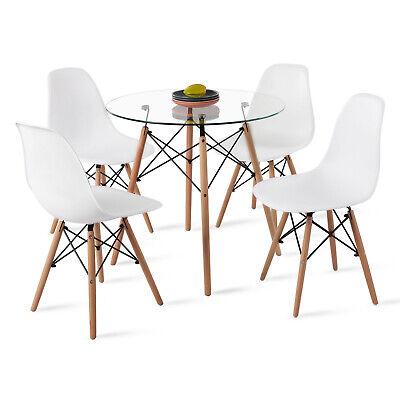 DORAFAIR Mesa de Comedor de Cristal Templado y 4 Silla,Comedor de diseño...