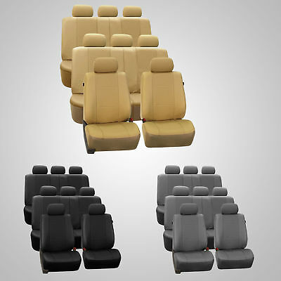 - 3 Row Car Seat Covers Faux Leather Luxury Top Quality for Minivan SUV