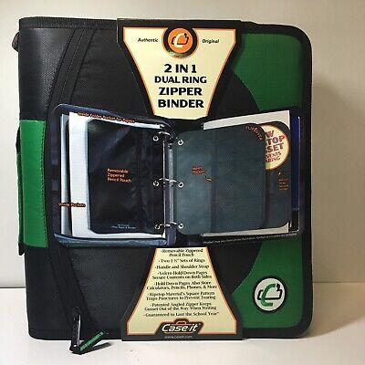 Case It Dual 100 Green 2 Sets Of 1-12 Rings Multi Pouch Zipper Binder