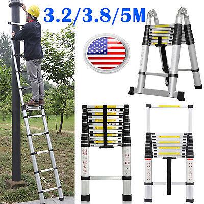 10.5 12.5 16.5ft Aluminum Telescopic Ladder Extension Foldable Multi-purpose
