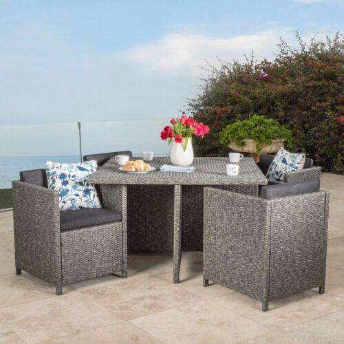 Calella 5-Piece Outdoor Dark Grey Wicker Dining Set Home & Garden