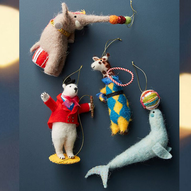 Anthropologie Felted Wool Circus Set of 4 Fun Christmas Ornament Miss Bumbles