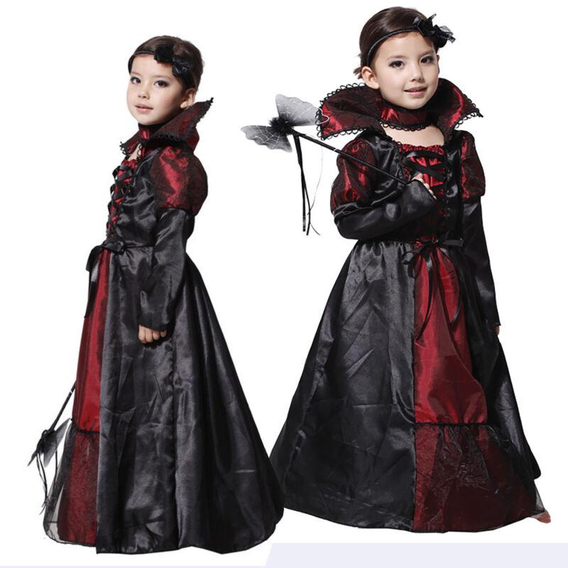 Vampir Prinzessin Kostüm Kinder Vampirkleid Mädchen Halloween Cosplay Karneval