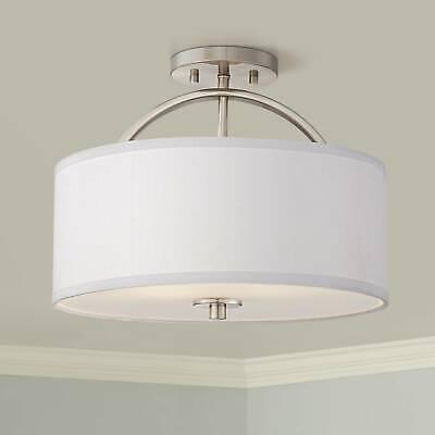 Modern Ceiling Light Semi Flush Mount Fixture Brushed Nickel