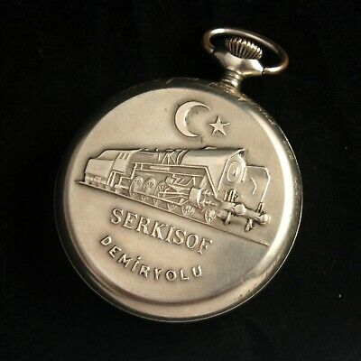 Pocket Watch MOLNIJA SERKISOF DEMIRYOLU Vintage Soviet Russian USSR Watch NICE!