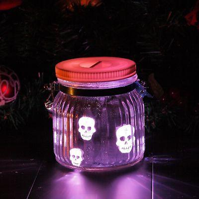 Indoor Outdoor Battery Operated LED Mason Jar Light Lantern Halloween, Skull](Battery Operated Halloween Lanterns)