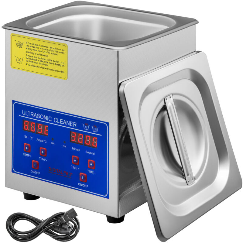 VEVOR 1.3L Ultrasonic Cleaner Industry Stainless Steel Jewelry Glasses w/Timer
