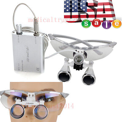 Dental Medical Surgical Magnifier Binocular Loupes 3.5x420mm Led Head Light Lamp