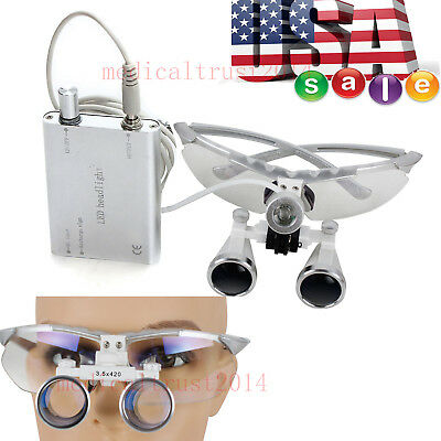 3.5x420 Surgical Dental Magnifier Glasses Binocular Loupes Led Head Light Lamp
