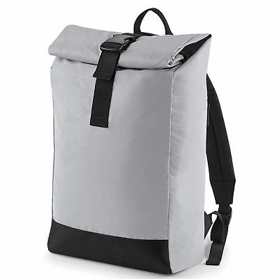 BagBase SILVER Reflective Roll Top Backpack Travel Bag BG138 BRAND NEW. BEST (Best Travel Luggage Backpack)