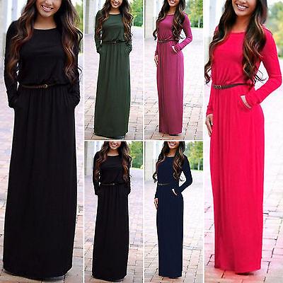 Womens Plain Long Sleeve Kaftan Maxi Dress Belted Casual Pockets Abaya Dresses