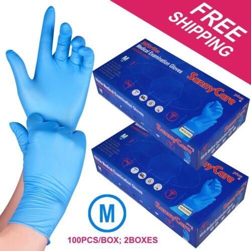 200 /2boxes Blue Nitrile Medical Exam Gloves Powder Free (Non Vinyl Latex) ---M