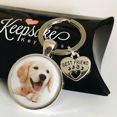 Personalised Photo Keyring Best Friend Paw Heart Cat Dog Pet Present Gift