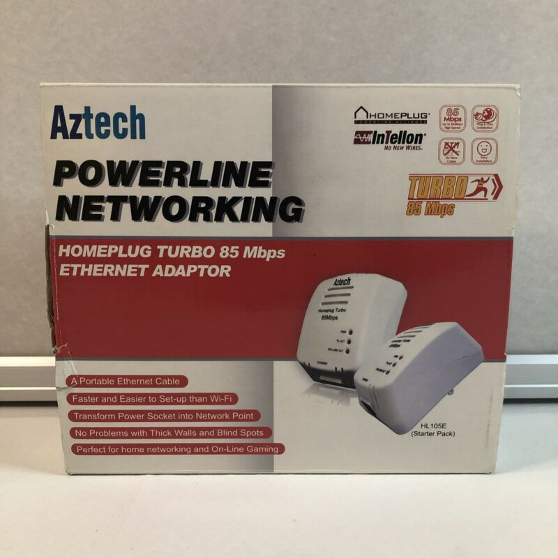 Aztec Powerline Networking Ethernet Adapter Homeplug Turbo 85 Mbps / NEW