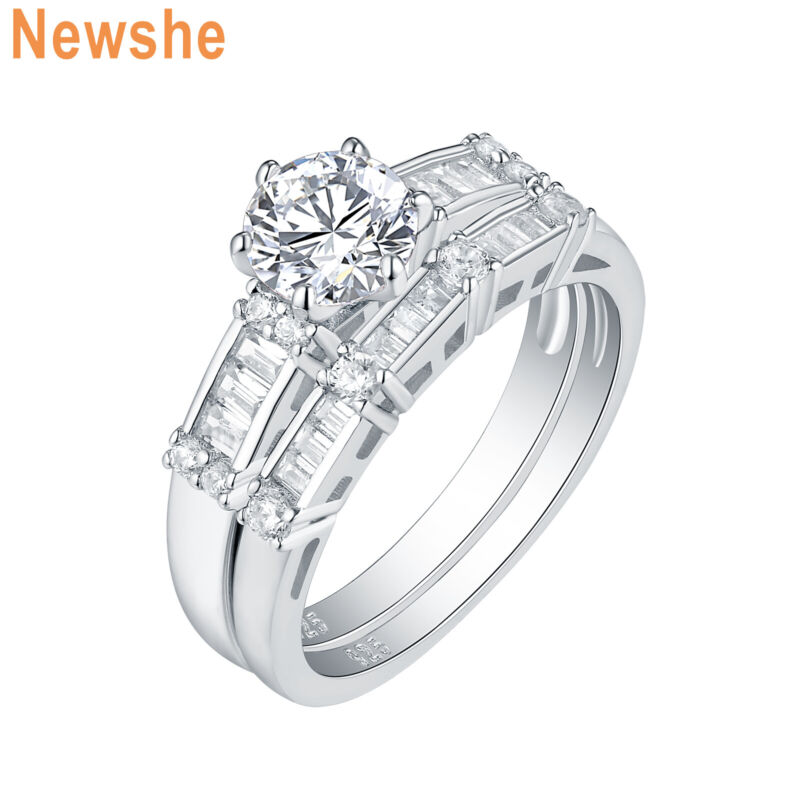Newshe Wedding Engagement Ring Bridal Set 925 Sterling Silver Round Aaa Cz 5-12
