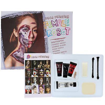 Weiblich Roboter Gesicht Körper Farbe Halloween Bühnen-make-up Malerei Kostüm