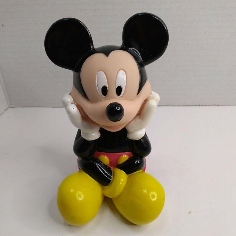 Vintage Mickey Mouse Hard Rubber Plastic Piggy Bank Walt Disney
