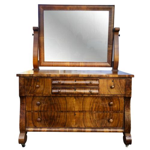 Antique American Empire Carved Burl Walnut Dresser with Mirror