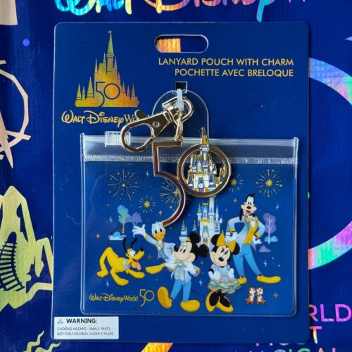 Disney Parks 50th Anniversary Lanyard Pouch w/ Charm - NEW
