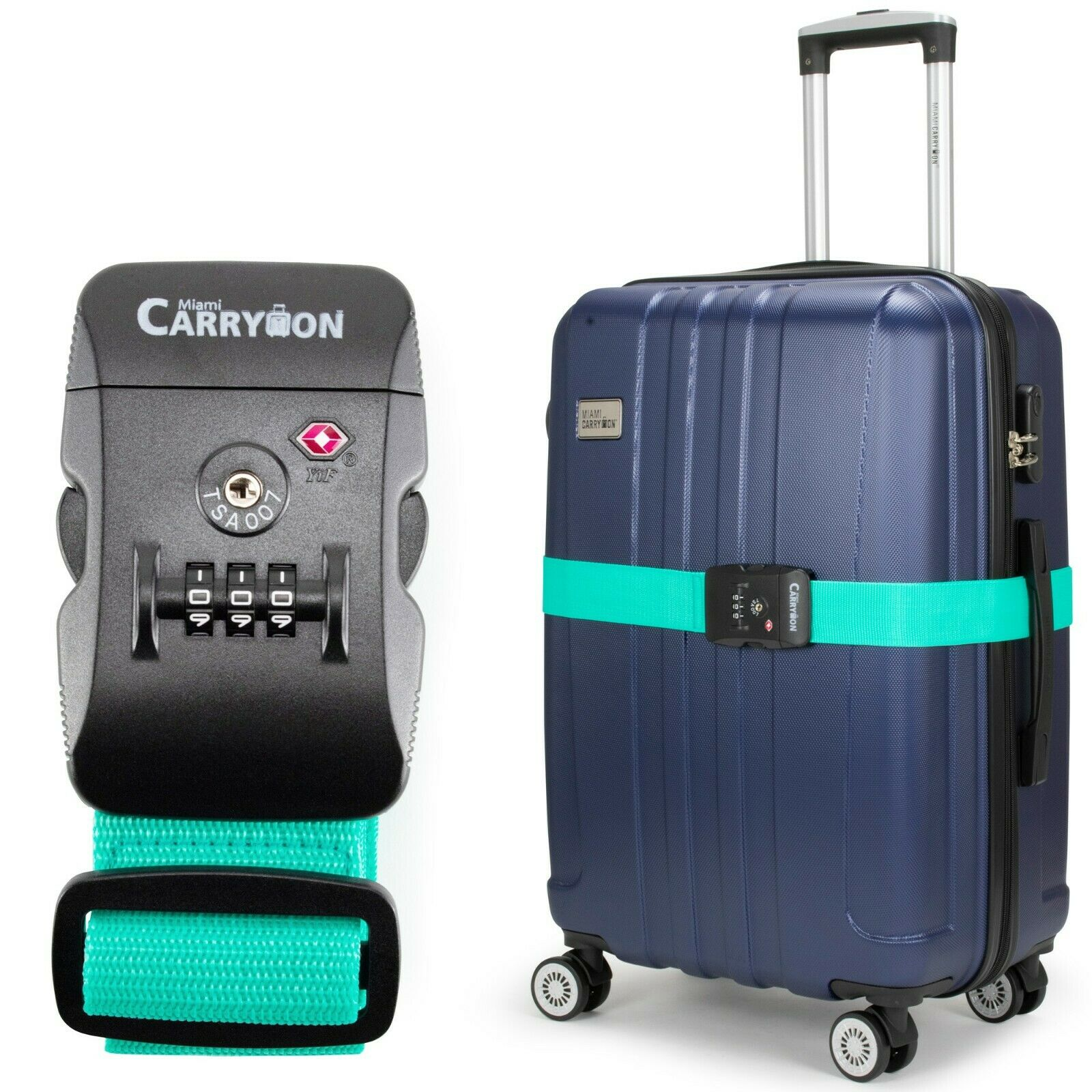 Miami CarryOn Adjustable Luggage Strap with a Built-in TSA Combination Lock Teal