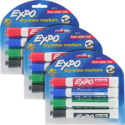 Expo Tank-style Dry Erase Markers Low Odor Chisel Tip Assorted 12pack 80174