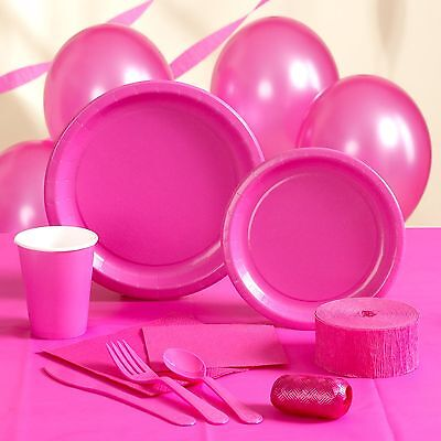 HOT PINK PARTY SUPPLIES-cups napkins plates tablecover cutlery balloons - Hot Pink Plates