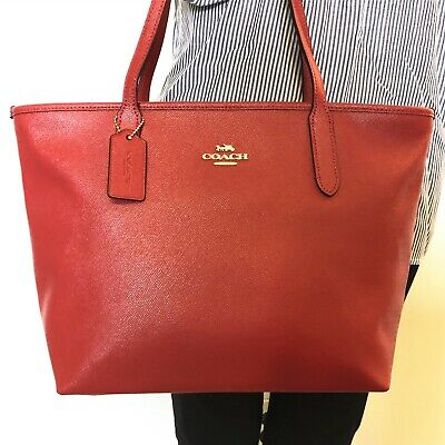NWT Coach F83857 Crossgrain Leather City Zip Tote Handbag Shoulder Bag True Red