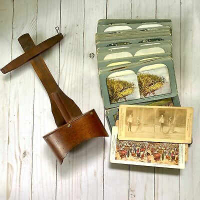 Antique Stereoscope Viewer with 80 Cards