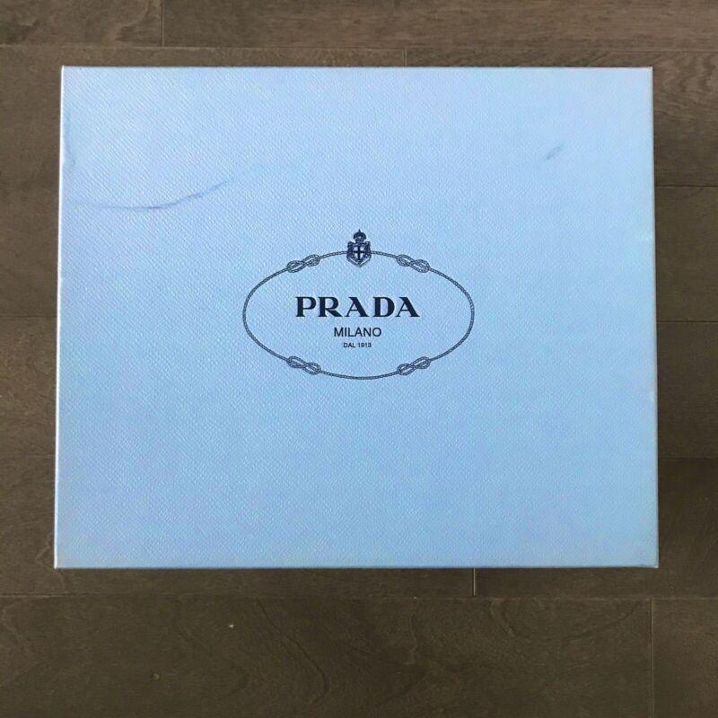 PRADA Milano BLUE Empty Shoe Box w/ 2 DUST BAGS Tissue Paper, AUTHENTIC