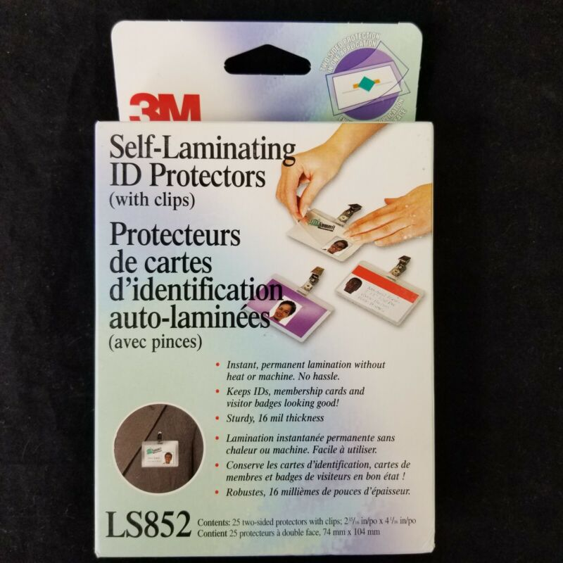 3M Self-Sealing Laminating Pouches w/Clip 12.5 mil 2 15/16 x 4 1/16 25/Pack