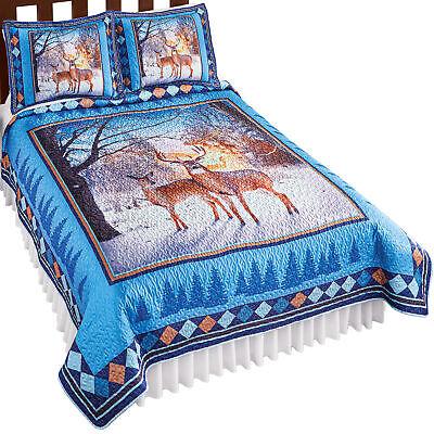 winter woods deer quilt blue brown king