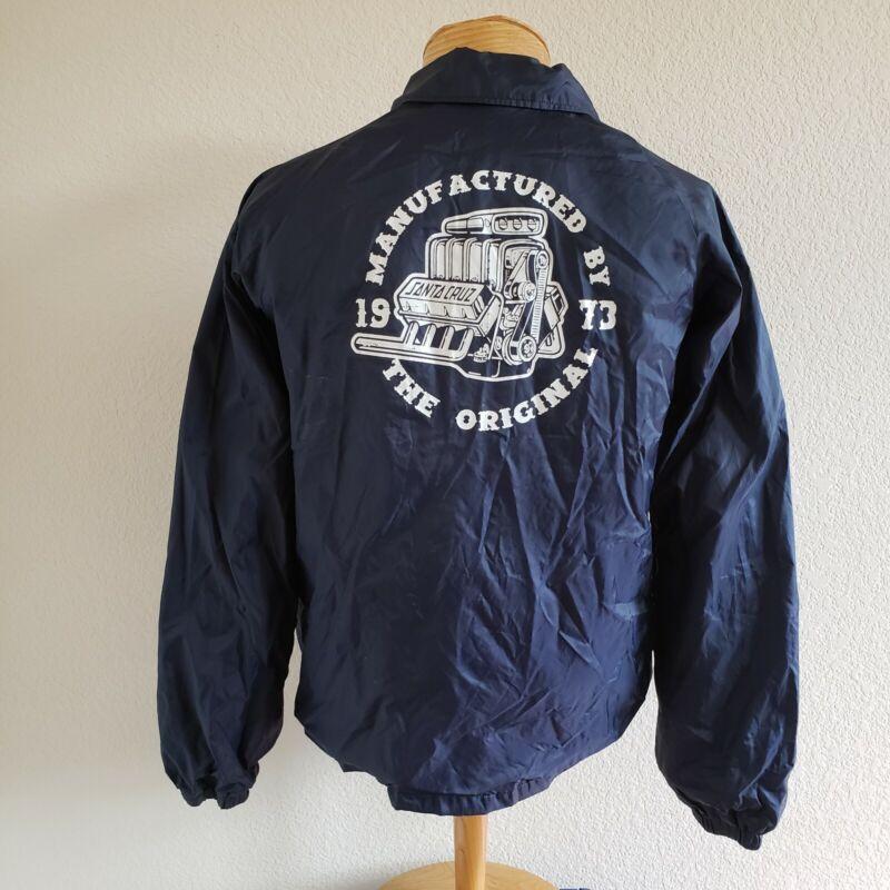 "Santa Cruz ""Manufactured By The Original"" 1973 Blue Windbreaker Snap Jacket M*"