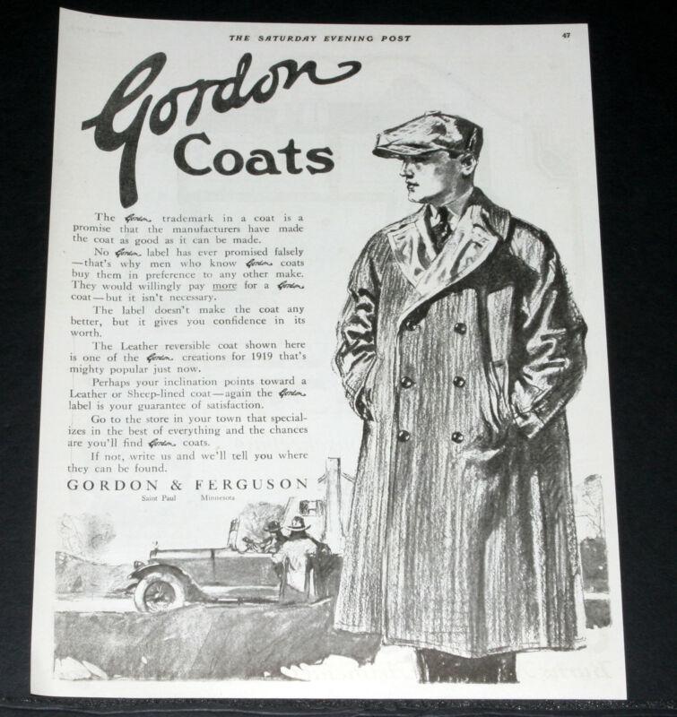 1919 OLD MAGAZINE PRINT AD, GORDON COATS, LEATHER OR SHEEP-LINED, FASHION ART!