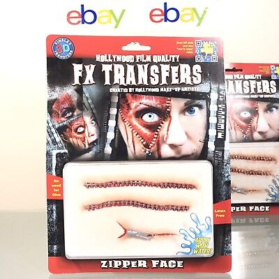 Tinsley FX Transfers Zipper Face Halloween Theatre Special Effect Latex-Free](Halloween Face Transfers)