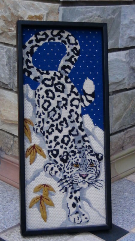 """ANTIQUE JAPANESE EMBROIDERY ON THE COTTON""""SNOW PANTHER"""""""