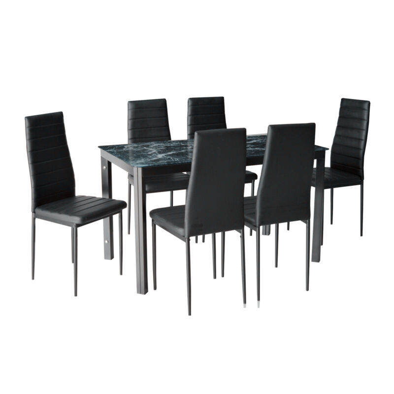 7pc Kitchen Dining Furniture Set Faux Marble Glass Top Table With 6 Chairs