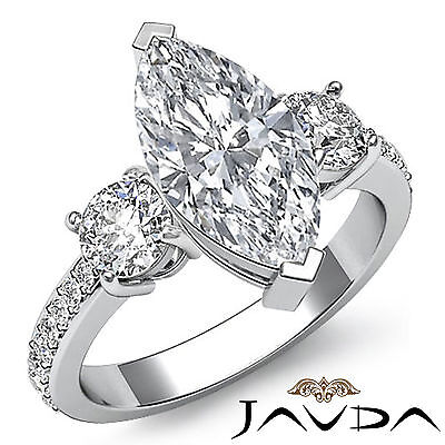 Vintage Micro Pave Set 3 Stone Marquise Diamond Engagement Ring GIA H SI1 1.4Ct