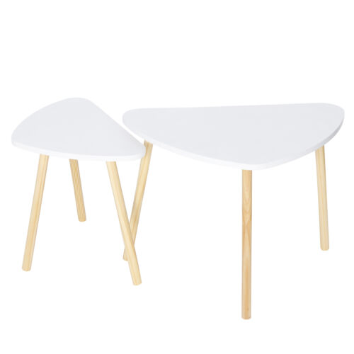 Set of 2 Nesting Coffee Tables Triangle White MDF Decor Table for Living Room Furniture