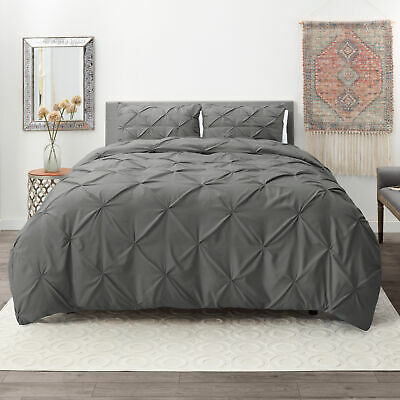 Pinch Pleated Duvet Cover Set Luxurious Premium Quality Comforter Cover -