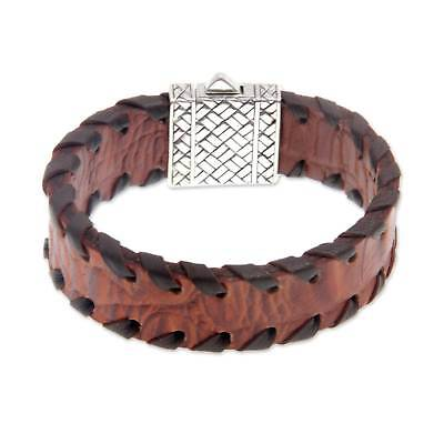 Brown Leather Bracelet 'Weaver' Mens Sterling Silver Art Hand Tooled NOVICA Bali ()