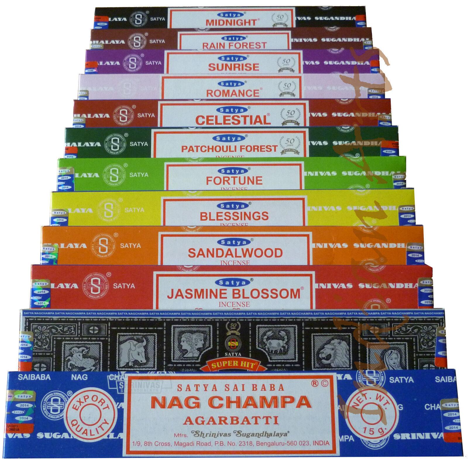 Satya Genuine Nag Champa Incense Sticks Joss 15g From 0.99p (mixed scents) +