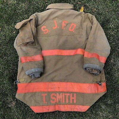 Vintage 90s Morning Pride Fd Michigan Firefighter Turnout Jacket Coat Bunker