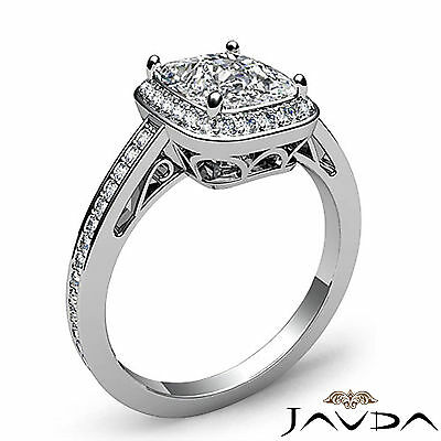 Filigree Halo Pave Setting Cushion Diamond Engagement Ring GIA G Color SI1 1.5Ct 1