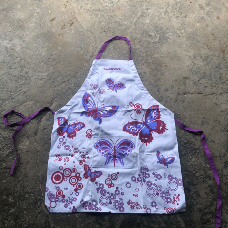 Tupperware Seller Butterfly Purple and White Cooking Apron Rare New