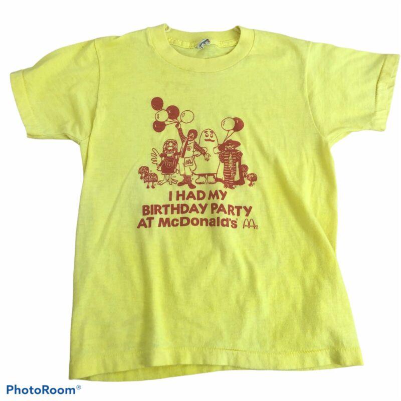 Vintage I HAD MY BIRTHDAY AT McDONALDS T-shirt Kids Sz M Yellow
