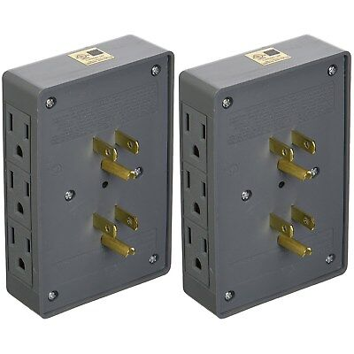 2 PACK SIDE ENTRY 6-WAY ELECTRICAL SOCKET OUTLET SPLITTER IN-WALL TAP ADAPTER 2 Outlet Socket Adapter
